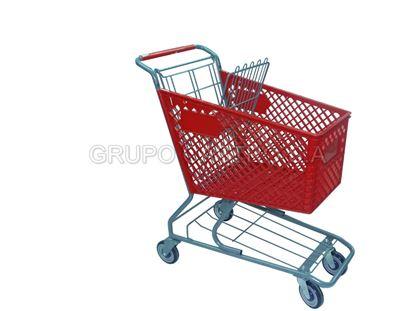 Foto de Carro supermercado Plástico 90ltrs ROJO HOT-C06