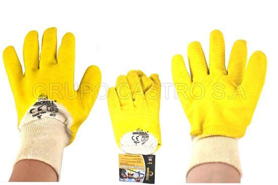 "Foto de Guante industrial latex amarillo bk-1382 puño franela10"""