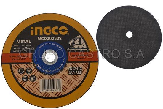 """Foto de Disco metal corte fino 9""""x1/816""""x7/8"""" ingco MCD302302(230x1.6x22.2mm) 6650xmin"""