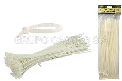 "Foto de Set 100  zuncho blanco plast. 12"" (300x4.8mm) scorpio vc150066"
