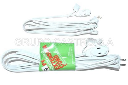 Foto de EXTENSION BLANCA HOUSEHOLD CORD 9FT 10A-125V-1625W/16X2 SPT-2-KM1347