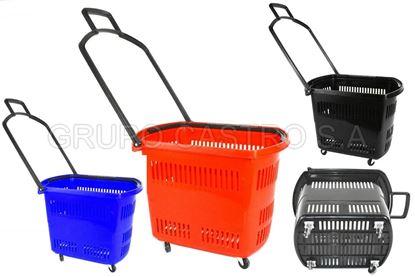 Foto de Canasta supermercado 4 rodines 2 agarradera rojo 48lts MU2412 36alx40anx50la