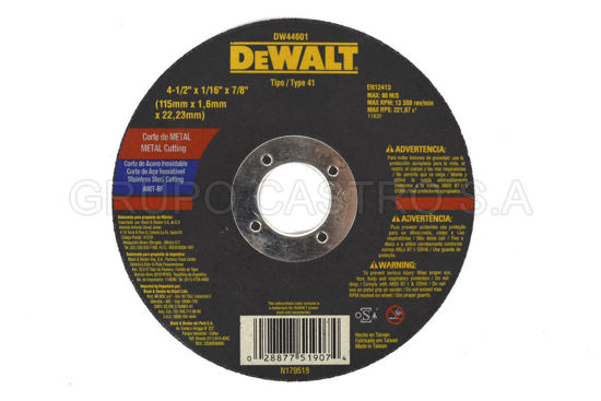 "Foto de DISCO CORTE FINO METAL 4 1/2X1 1/16X7/8"" DEWALT (DW44601) RPM13.300"