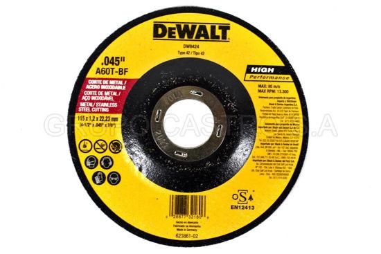 "Foto de DISCO METAL CORTE FINO 41/2""x0.045""x7/8"" DEWALT DW8424A RPM13.300"