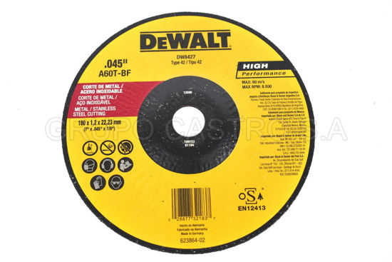 "Foto de DISCO METAL CORTE FINO7X0.045X7.8""  DEWALT (DW8427)RPM8.500"