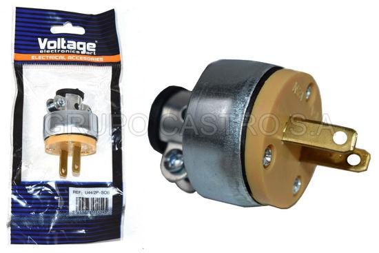 Foto de Enchufle macho 2 Patas 125v U44/2P-SOB voltage metalico blister