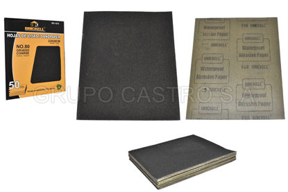 Foto de Lija metal caja 50 pcs 80 negro impermeable agua 230X280 mm 1D-BK-1075 SCANBRIK