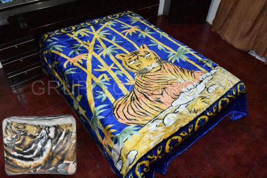 Foto de Cobija Peluche Matrimonial Reversible 2.40x1.80cm tigre bambu/flores 36-5888