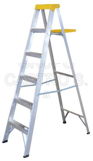 Foto de Escalera de aluminio tipo tijera ET5 5 peldaños, 1.83 mts 90 KG peso maximo
