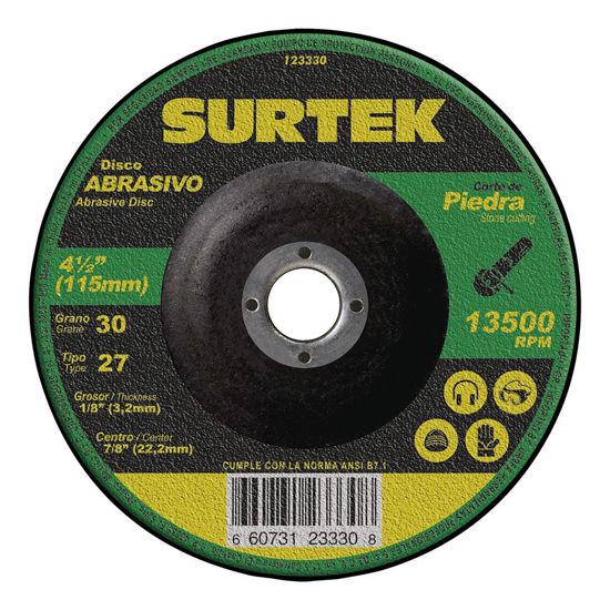 """Foto de Disco metal corte grueso abrasivo tipo 27 piedra 7""""x1/8"""" 123331 8500 RPM surtek uso mega pesado"""