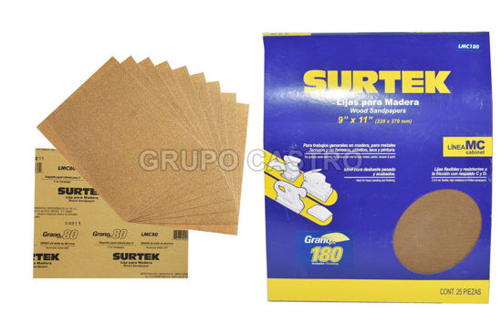 "Foto de Lija madera 25 pcs papel cabinet grano 180 LMC180 9"" x 11"" surtek desbaste pesado"