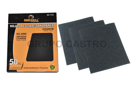 Foto de Lija caja 50 pcs madera #2000 negro impermeable agua 230X280 mm SCANBRIK BK-1753