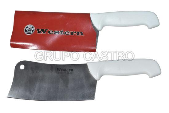 "Foto de Cuchillo hacha 7"" SM-788-7 puño cacha blanca western"