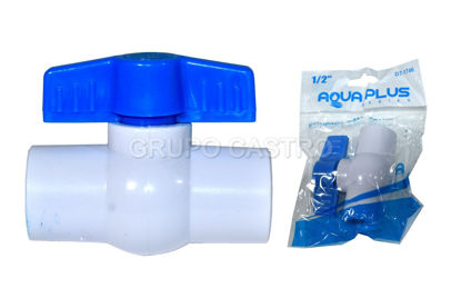 Foto de Llave paso pvc 1/2  mango azul DT-1746 aquaplus