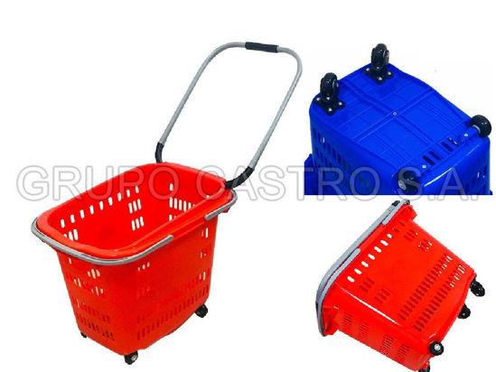 Foto de Canasta supermercado 4 rodines 2 agarradera azul H19-079 34ltrs 37alx36anx53la