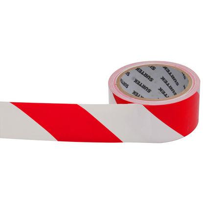 Foto de Cinta señalización precaucion rojo/blanco 18 mts 0.105mm Ancho48 mm Adhesivo acrilico 138061 SURTEK