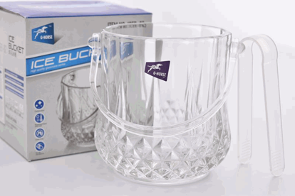 Foto de Hielera de vidrio c/agarradera-tenaza acrilica ICEB-02/82639/J0012/0013 900ML 15X13.5cms